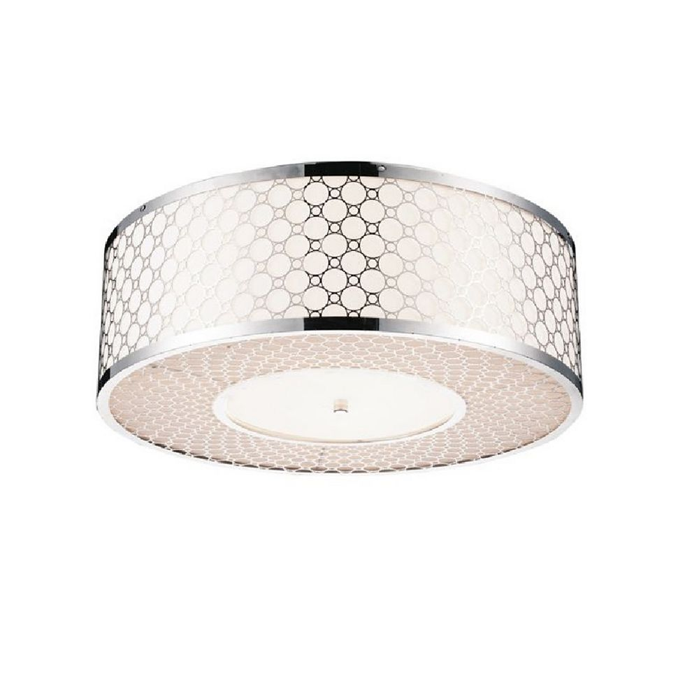 CWI Lighting Swiss 16 inch 4 Light Flush Mount with Chrome Finish