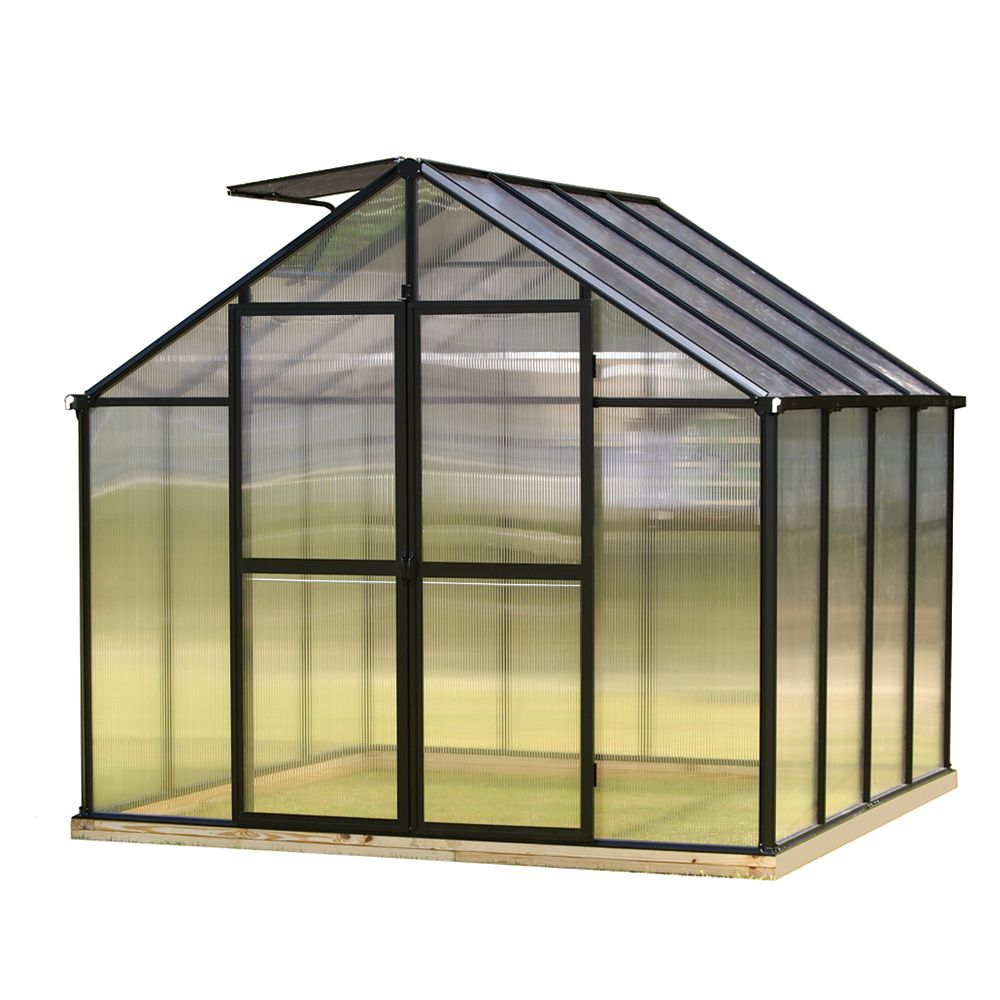 Monticello 8 ft. X 8 ft. Black Greenhouse - Premium Package