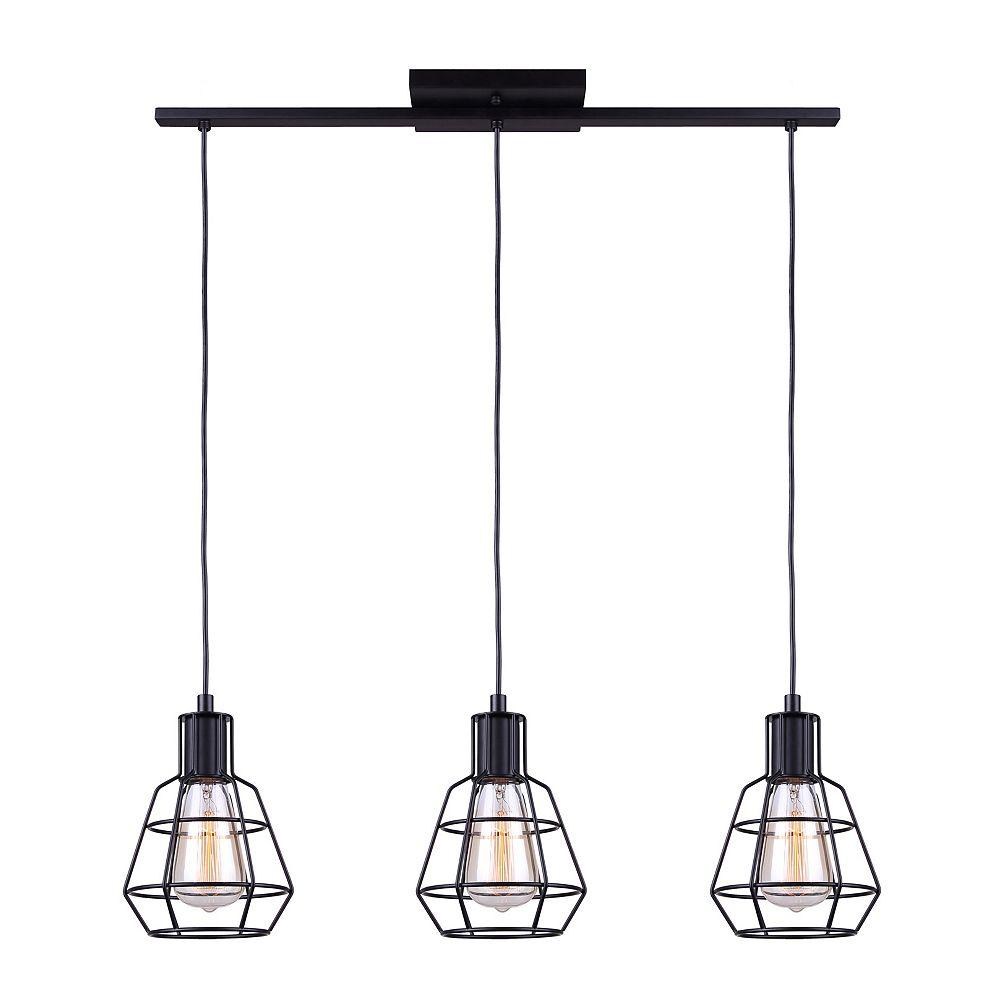 trey 3 light matte black cord pendant