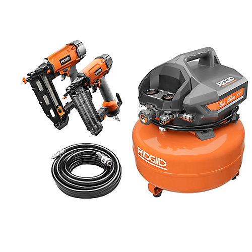 6 Gal. Electric Pancake Air Compressor Combo Kit w/ 18-Gauge Brad Nailer & 16-Gauge Finish Nailer