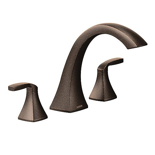 Voss 2-Handle Deck-Mount High-Arc Roman Tub Faucet Trim Kit in Oil Rubbed Bronze (Valve Not Included)