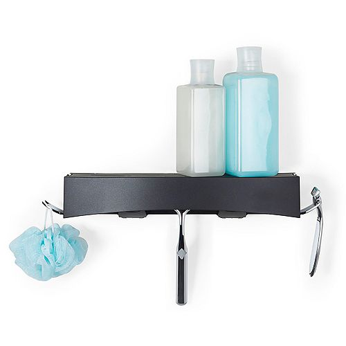 Clever Flip Shower Shelf Black
