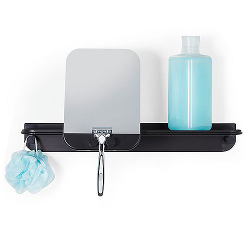 Glide Multi-Purpose Shelf With Mirror Black Aluminum