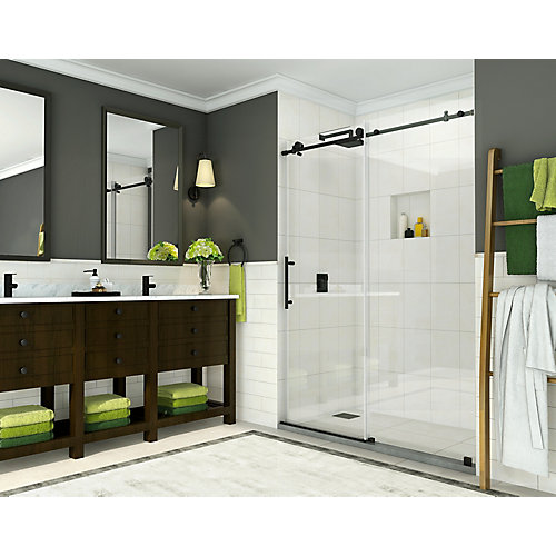 Coraline 56-inch to 60-inch x 76-inch Frameless Sliding Shower Door in Oil Rubbed Bronze