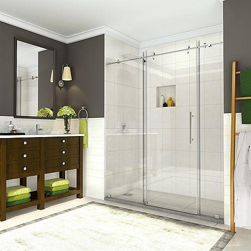 Aston Coraline 68 inch to 72 inch x 76 inch Frameless Sliding Shower Door in Stainless Steel