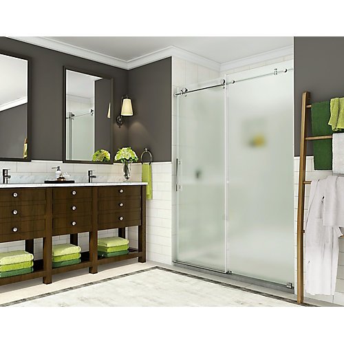 Coraline 44-inch to 48-inch x 76-inch Frameless Sliding Shower Door with Frosted Glass in Chrome