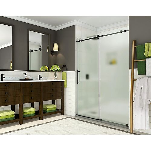 Aston Coraline 56 - 60 inch x 76 inch Frameless Sliding Shower Door with Frosted Glass in Oil Rubbed Bronze