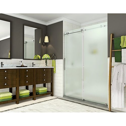 Aston Coraline 56-inch to 60-inch x 76-inch Frameless Sliding Shower Door with Frosted Glass in Stainless Steel