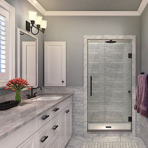Kinkade 24.75 inch to 25.25 inch x 72 inch Frameless Hinged Shower Door in Oil Rubbed Bronze