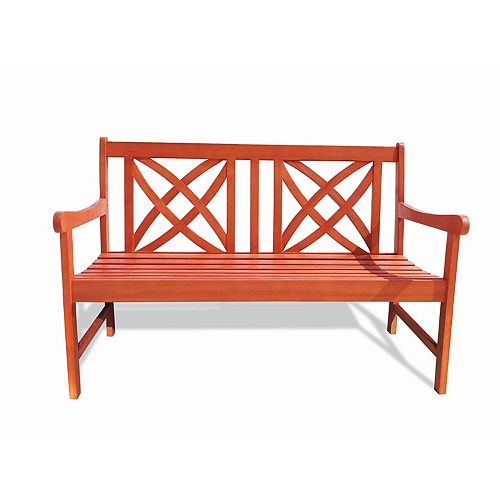 Malibu 4 ft. Wood Patio Garden Bench