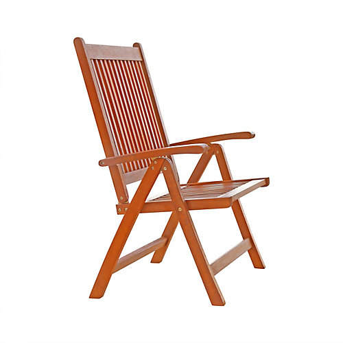 Malibu Chaise inclinable à 5 positions en bois Patio