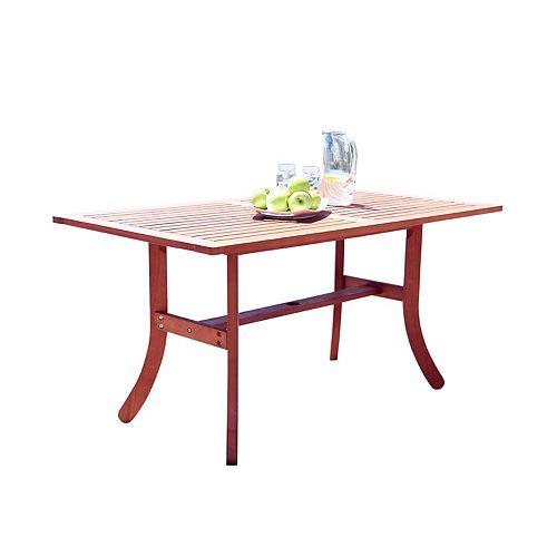 Malibu Outdoor Patio Wood Rectangular Dining Table with Curvy Legs