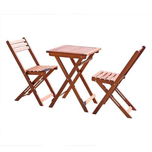 Malibu 3-Piece Outdoor Wooden Patio Bistro Set
