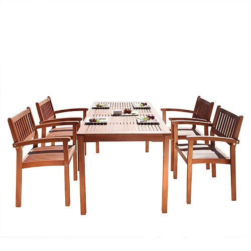 Malibu 5-Piece Wooden Patio Dining Set with Stacking Chairs in Natural Finish