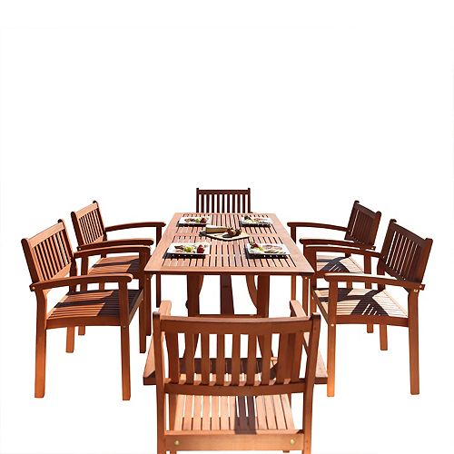 Malibu Patio 7-Piece Wood Dining Set with Stacking Chairs V187SET4
