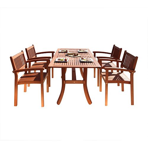 Malibu Patio 5-Piece Wood Dining Set with Stacking Chairs V187SET3