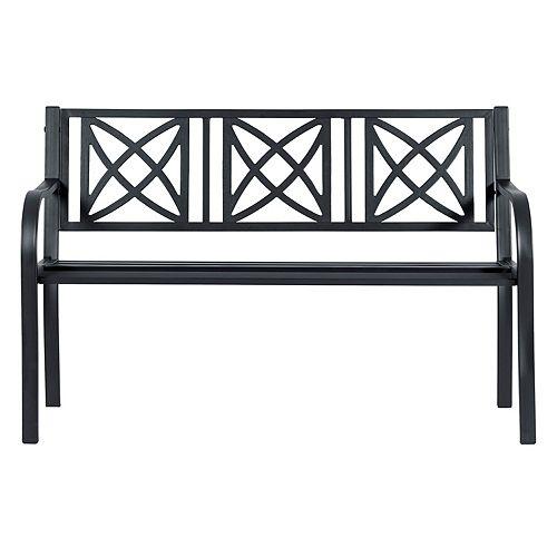 Paracelsus 4-ft Metal Garden Bench in Black