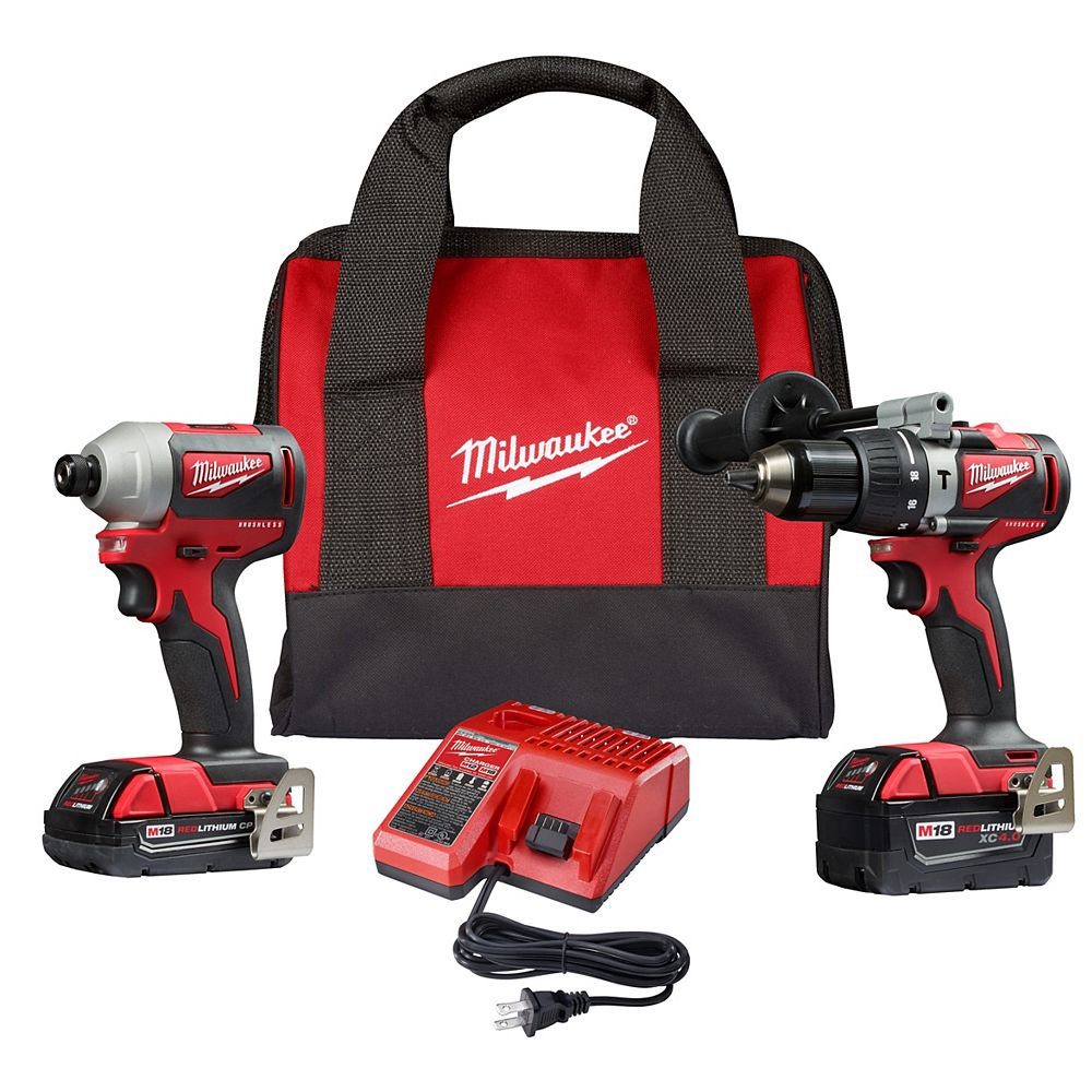 Milwaukee Tool Marteau perforateur sans fil M18 18V Lithium-Ion sans balais/ Kit combiné marteau perforateur à percussion (2 outils) avec 2 piles