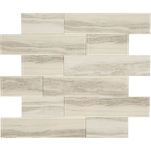 Marble Gris obl en verre 11.4 X 11.6 Peel and Stick