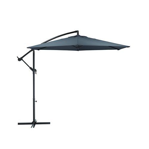 Hampton Bay 10 ft. Steel Round Offset Patio Umbrella in Grey with X Base