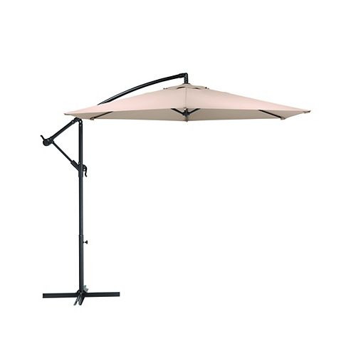 10 ft. Steel Round Offset Patio Umbrella in Tan with X Base