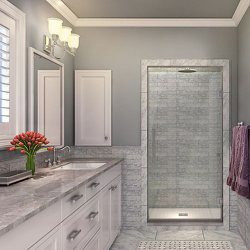 Aston Kinkade 24.75 inch to 25.25 inch x 72 inch Frameless Hinged Shower Door in Stainless Steel