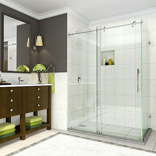 Aston Coraline 44 inch to 48 inch x 33.875 inch x 76 in. Frameless Sliding Shower Enclosure in Chrome