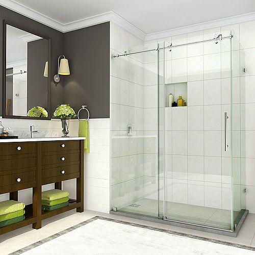 Aston Coraline 44 - 48 x 33.875 x 76 inch Frameless Sliding Shower Enclosure in Stainless Steel