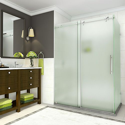 Aston Coraline 44 - 48 x 33.875 x 76 inch Frameless Sliding Shower Enclosure, Frosted, Stainless Steel