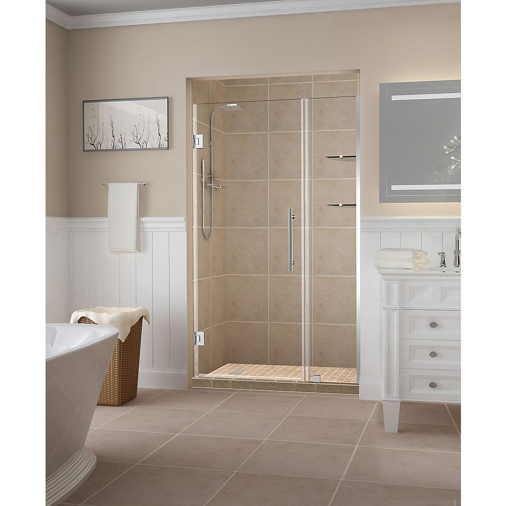 Aston Belmore GS 44.25 inch to 45.25 inch x 72 inch Frameless Hinged Shower Door with Glass Shelves in Chrome