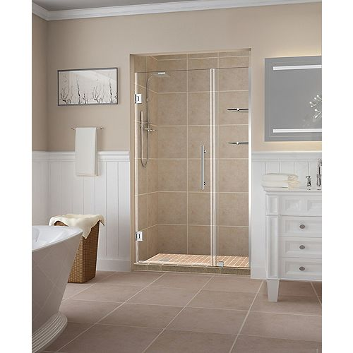 Aston Belmore GS 46.25 inch to 47.25 inch x 72 inch Frameless Hinged Shower Door with Glass Shelves in Chrome