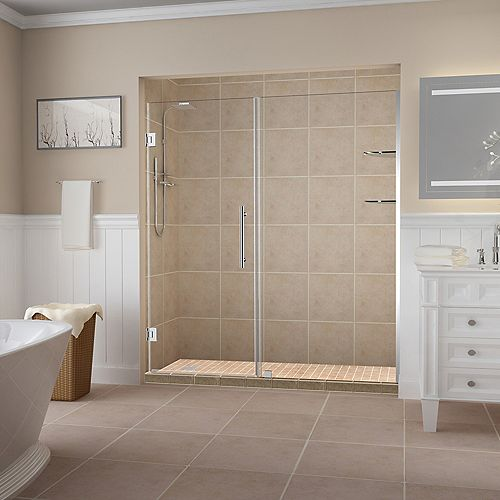 Aston Belmore GS 65.25 inch to 66.25 inch x 72 inch Frameless Hinged Shower Door with Glass Shelves in Chrome