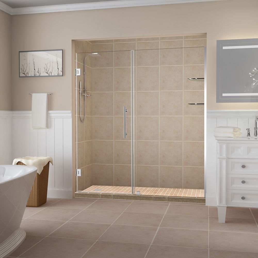 Belmore GS 66.25 inch to 67.25 inch x 72 inch Frameless Hinged Shower Door with Glass Shelves in Chrome