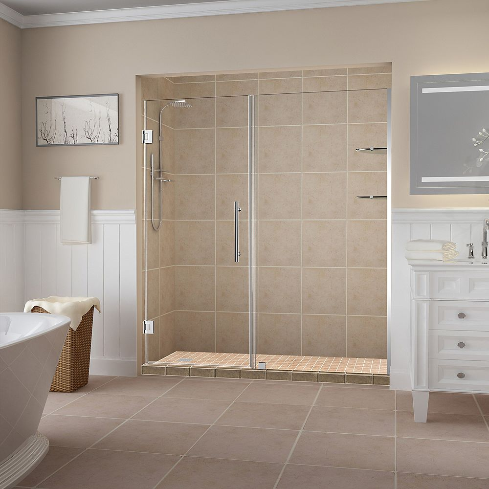 Aston Belmore GS 71.25 inch to 72.25 inch x 72 inch Frameless Hinged Shower Door with Glass Shelves in Chrome