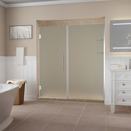 Aston Belmore GS 71.25 - 72.25 x 72 inch Frameless Hinged Shower Door w/ Frosted Glass and Shelves, Chrome