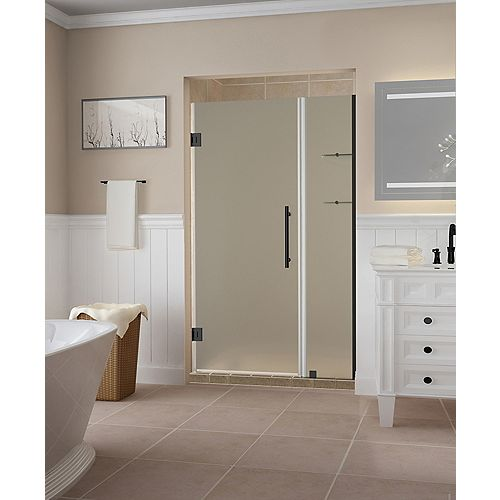 Aston Belmore GS 47.25 - 48.25 x 72 inch Frameless Hinged Shower Door w/ Shelves, Frosted,Oil Rubbed Bronze