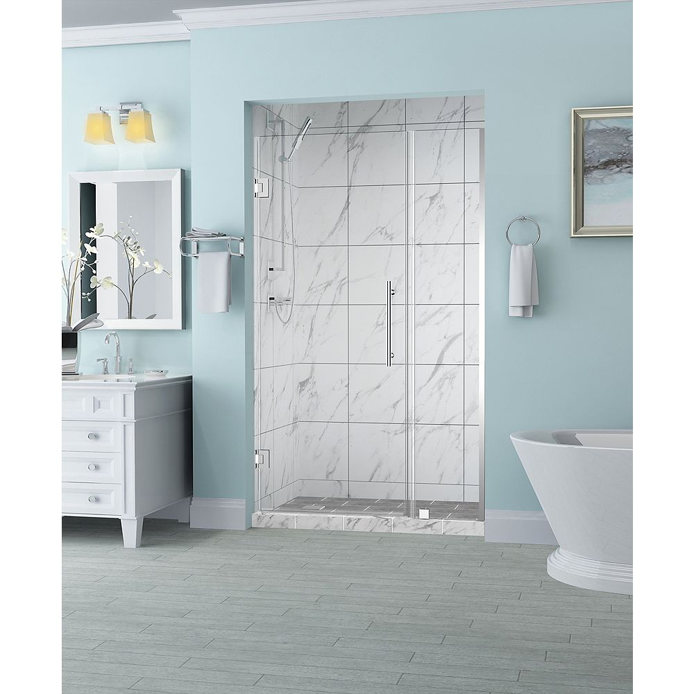 Aston Belmore 38.25 inch to 39.25 inch x 72 inch Frameless Hinged Shower Door in Chrome