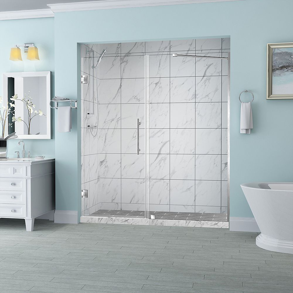 Aston Belmore 52.25 inch to 53.25 inch x 72 inch Frameless Hinged Shower Door in Stainless Steel