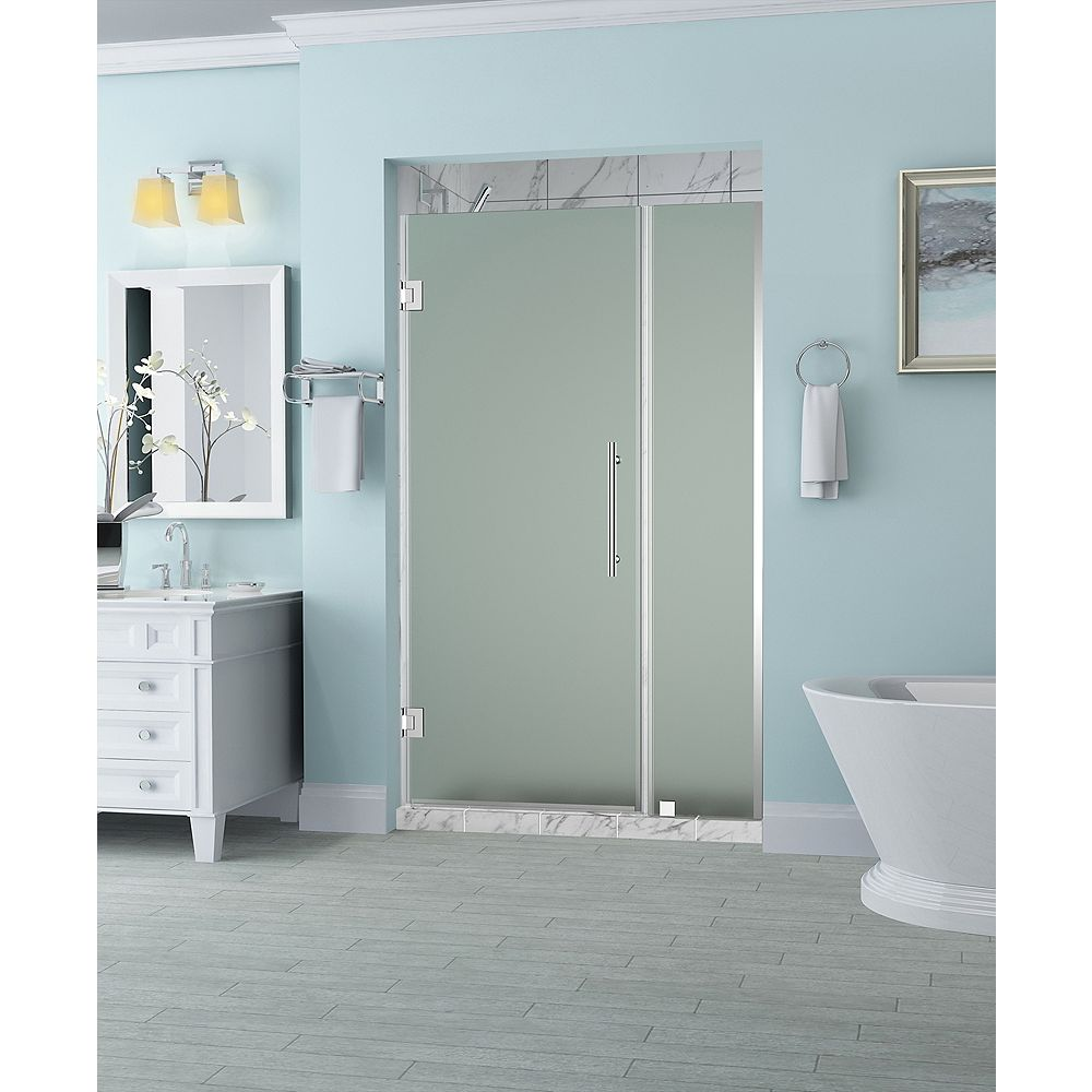Aston Belmore 34.25 inch to 35.25 inch x 72 inch Frameless Hinged Shower Door with Frosted Glass in Chrome