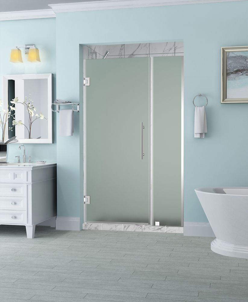 Belmore 49.25 inch to 50.25 inch x 72 inch Frameless Hinged Shower Door with Frosted Glass in Chrome