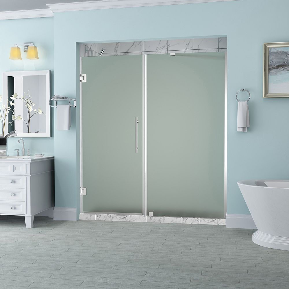 Aston Belmore 69.25 inch to 70.25 inch x 72 inch Frameless Hinged Shower Door with Frosted Glass in Chrome