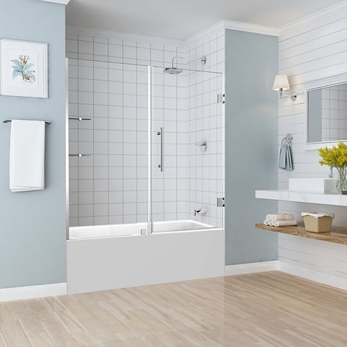 Aston Belmore GS 59.25 inch to 60.25 inch x 60 inch Frameless Hinged Tub Door with Glass Shelves in Chrome