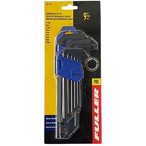 9-Piece Long Arm Metric Hex Key Set with Holder