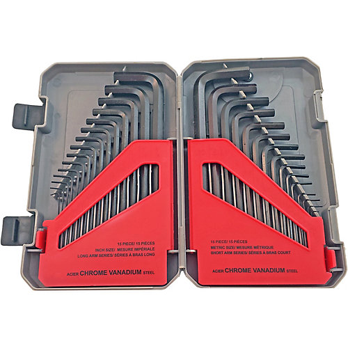 30-Piece Set of SAE and Metric Hex Keys in a Handy Storage Case
