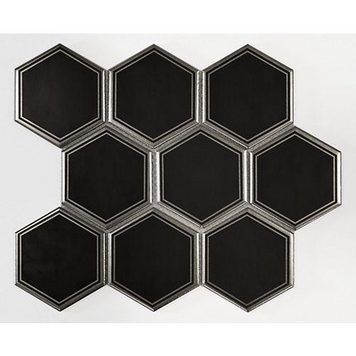 4-inch x 4-inch Hexagon Titanium Black Ceramic Matte Mosaic