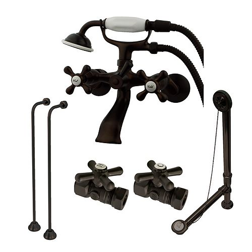 Combo Set 3-Handle Claw Foot Tub Faucet with Hand Shower in Oil Rubbed Bronze