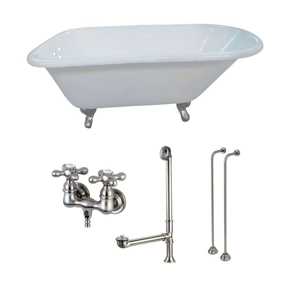 Aqua Eden Petite 4.5 ft. Cast Iron Clawfoot Bathtub in White and Faucet Combo in Satin Nickel