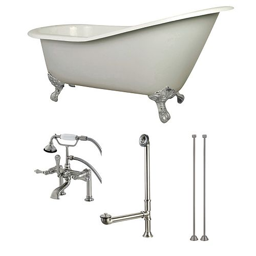 Aqua Eden Slipper 5 ft. Cast Iron Clawfoot Bathtub in White with Faucet Combo in Satin Nickel