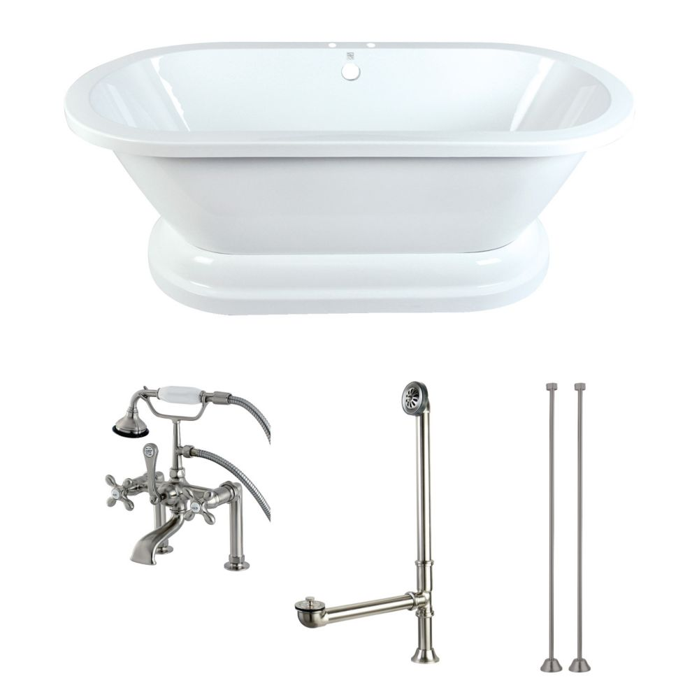 Pedestal 5.6 ft. Acrylic Flat-bottom Bathtub in White and Faucet Combo in Satin Nickel