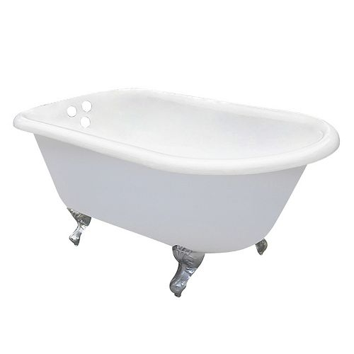 Aqua Eden Petite 4.5 ft. Cast Iron Chrome Claw Foot Roll Top Tub with 3-3/8 inch Centers in White
